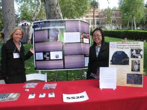 Lexy and Tiffany proudly show their research at the 2009 symposium